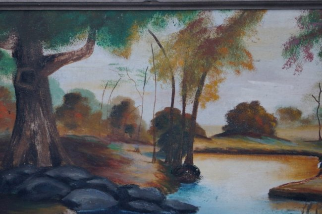 River Country View Oil On Canvas Painting, Original