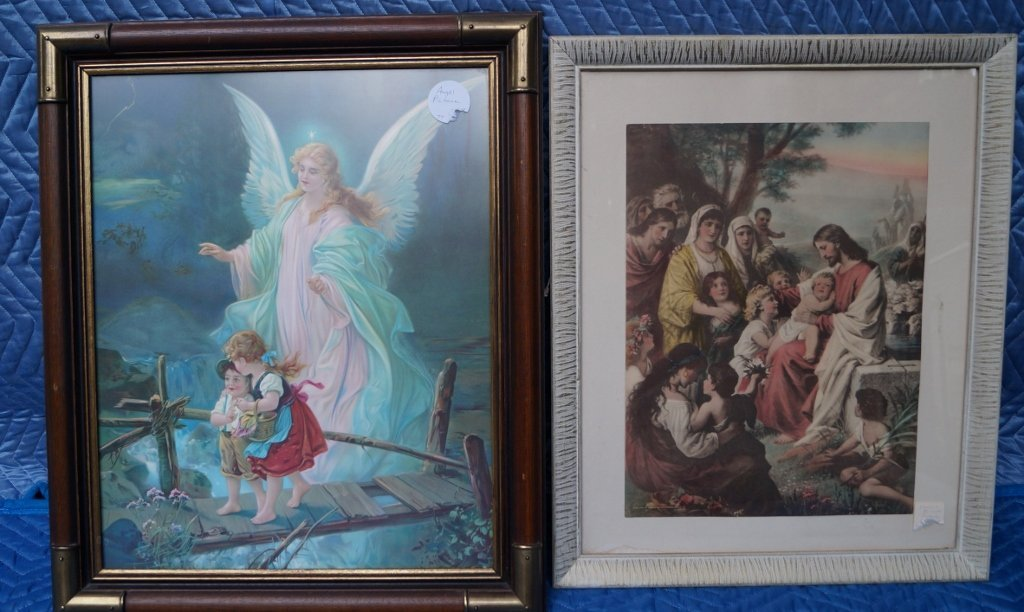 Hand Tinted Antique Jesus Art Print & Religious Angel