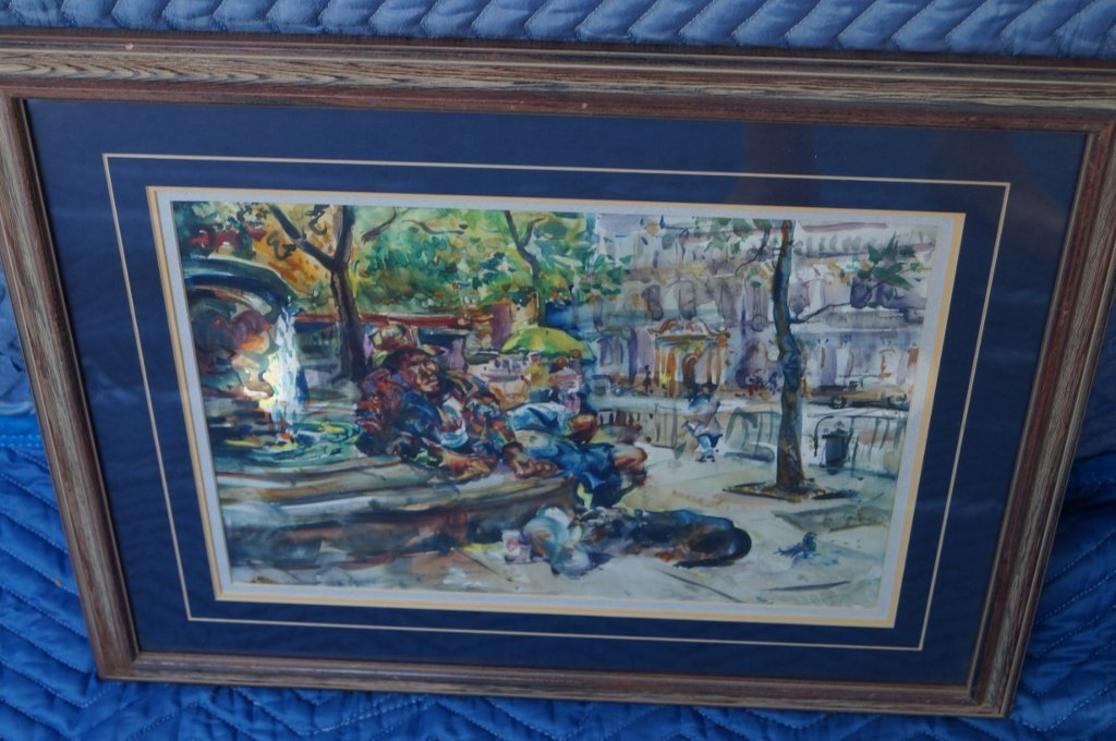 "Original Paris Watercolor Art, ""Man By Fountain"" Framed"