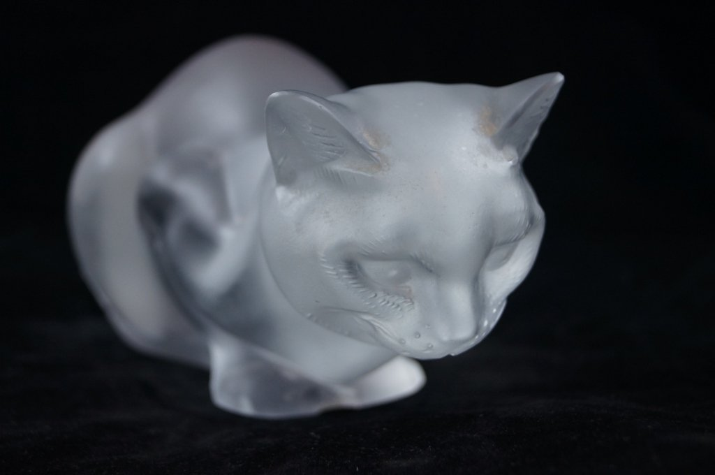 French Lalique Crystal Cat Figurine, Crouching Signed