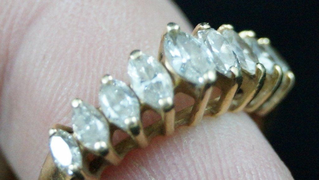 Authentic 14K Yellow Gold Band Diamond Ring 0.50ct