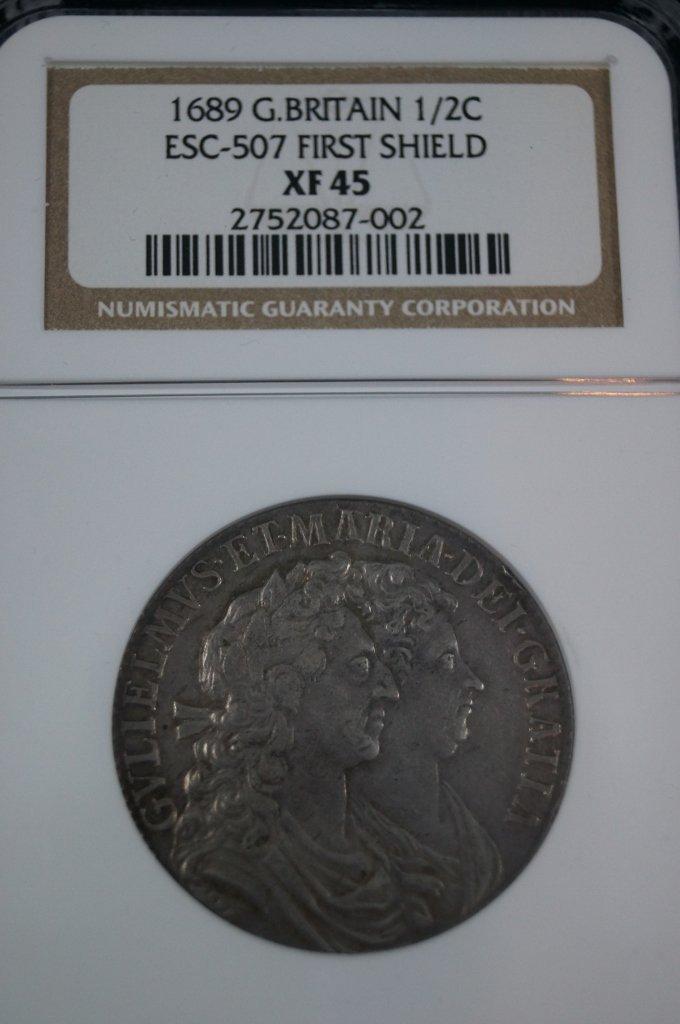 British Great Britain 1689 William and Mary Half Crown