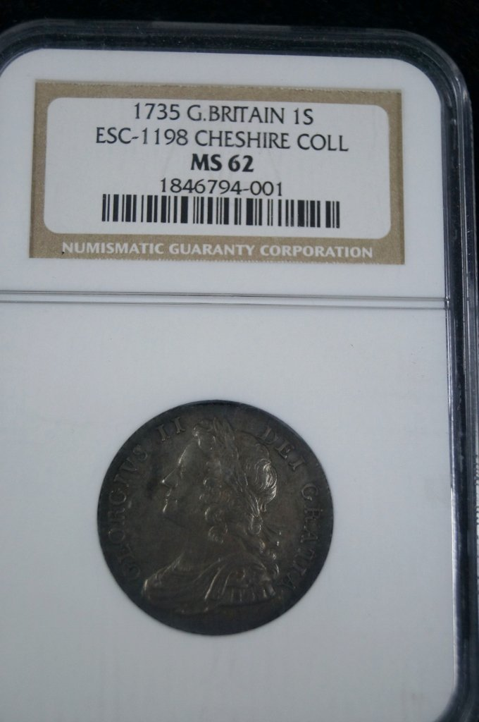 1735 Great Britain 1 Shilling NGC MS 62 Cheshire