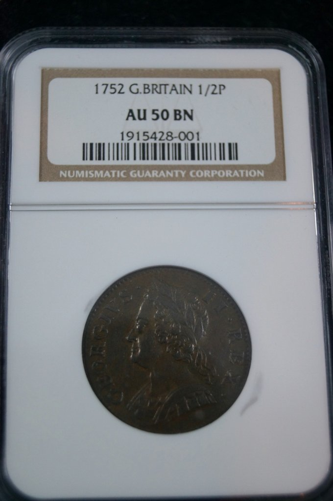 Great Britain 1752 George II Half Penny NGC AU 50 Coin