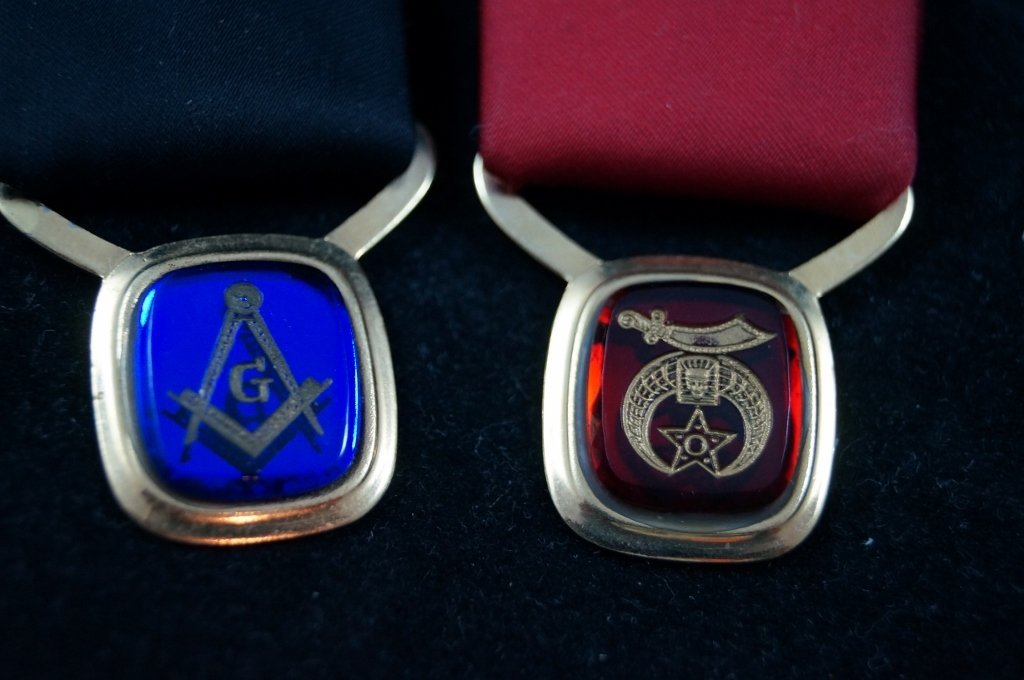 Masonic Shriners Neck Tie Ribbons Medals, Vintage