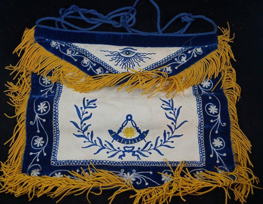 1948 Masonic Embroidered Blue Apron, Phoenicia Lodge