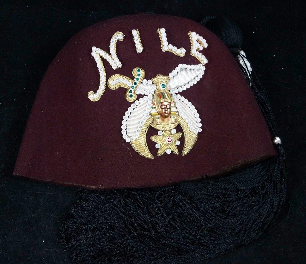 """Vintage Shriners Masonic Fez Hat Rhinestones """"Nile"""""""