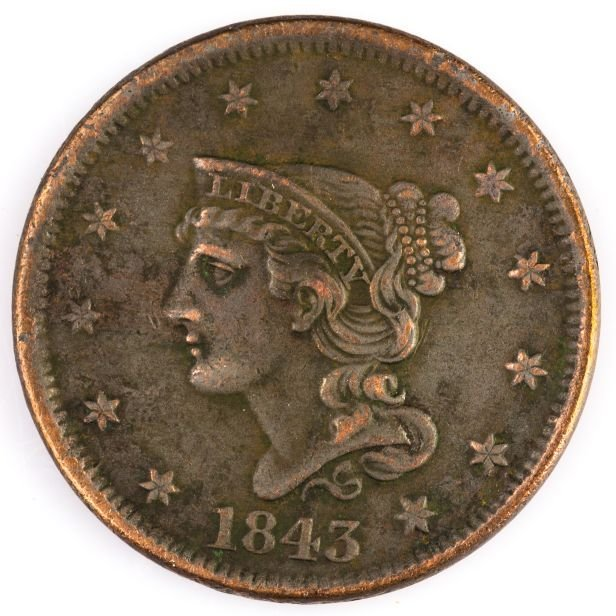 1843 LARGE CENT US COIN