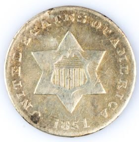 1851 THREE CENT SILVER US COIN