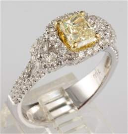 PLATINUM FANCY INTENSE YELLOW DIAMOND RING