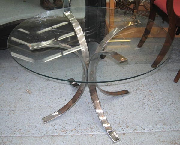 COFFEE TABLE, glass top on chromed base, 50cm H x 75cm.