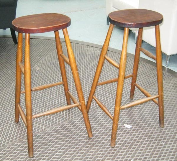 WOODEN STOOLS, a pair, with turned legs, 75cm H x 44cm.