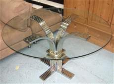DINING TABLE, 1970's circular glass top on chrome and