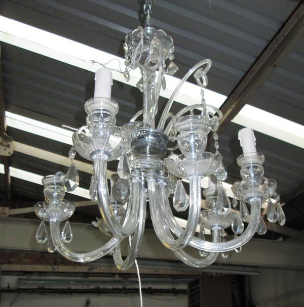 CHANDELIER, six branch and various sized cut glass