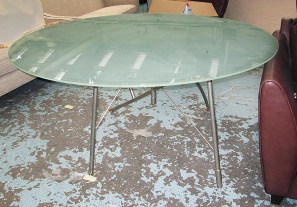 PHILIPPE STARCK DINING TABLE, circular, with glass top