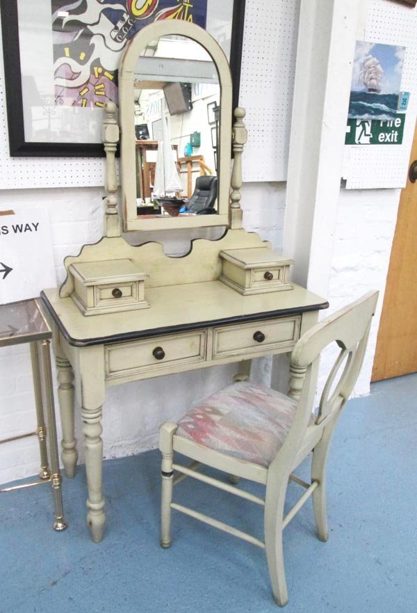 DRESSING TABLE, in painted finish with swing mirror,