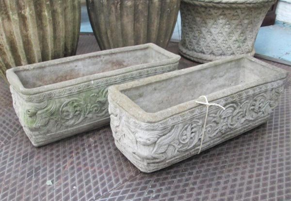 GARDEN PLANTERS, a pair, ornately cast in weathered