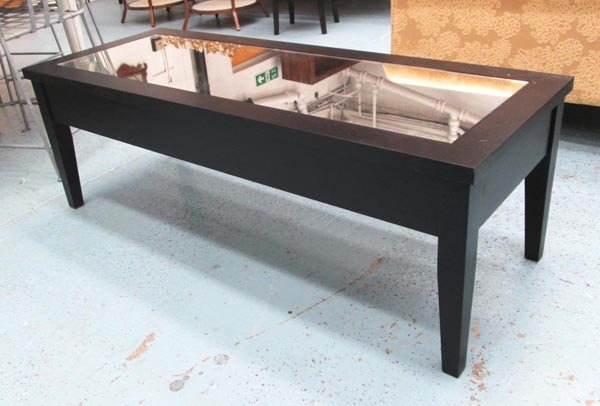 LOW TABLE, dark wood with a rectangular mirrored top,