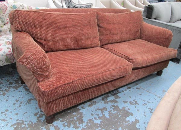 SOFA, in a woven russet patterned fabric, 89cm D x