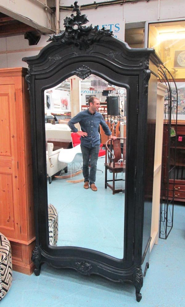 ARMOIRE, French style black painted with a shaped