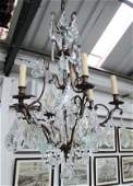 CHANDELIER, six branch, brass frame with various sized