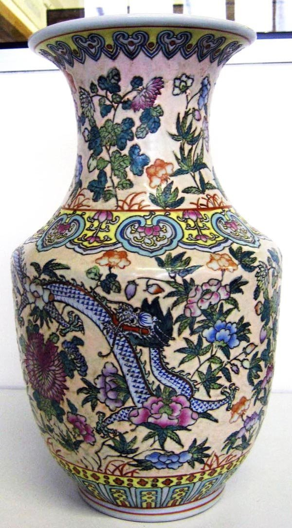CHINESE VASE, Canton enamel style, decorated with scaly
