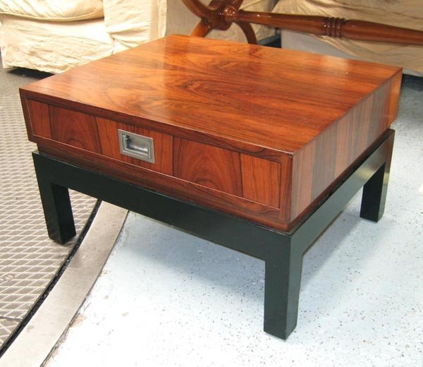 SIDE TABLE, square form in rosewood with single drawer,