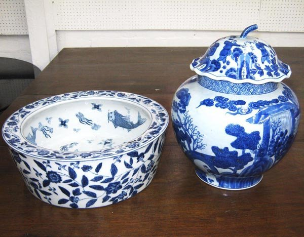 CHINESE VASE, blue and white of baluster form 38cm H