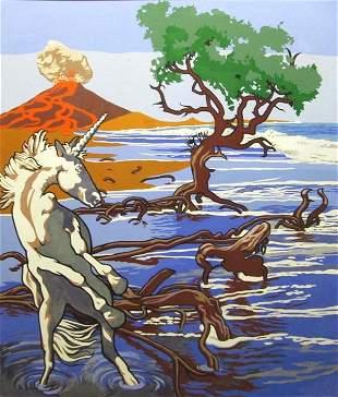 SIMONE TROY, 'Unicorn', acrylic on canvas, 106cm x