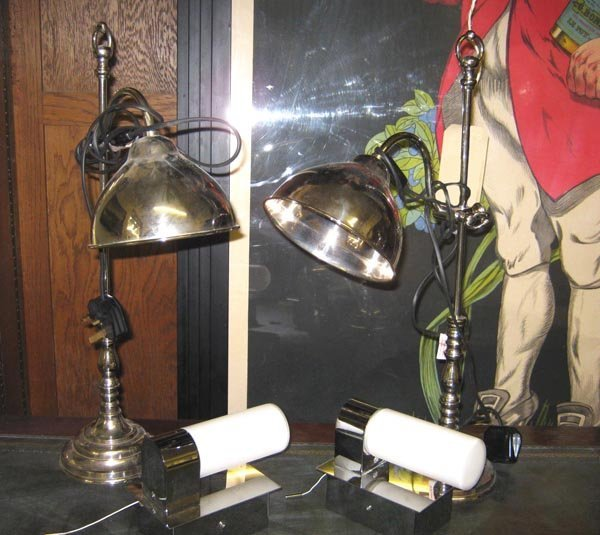 TABLE LAMPS, a pair, chromed 56cm H and a pair of