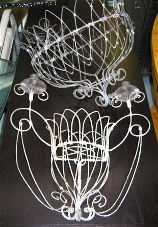 GARDEN SCONCES, three, open wire work and a matching