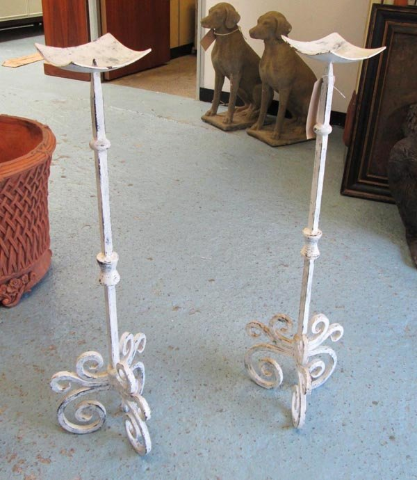 GARDEN PRICKETS, a pair, cast iron and distressed white