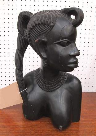 AFRICAN HAND CARVED BUST, of a lady, hardwood, 33cm H x