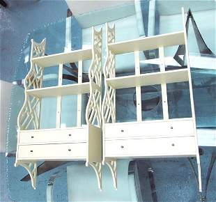 HANGING SHELVES, a pair, chinoiserie style white