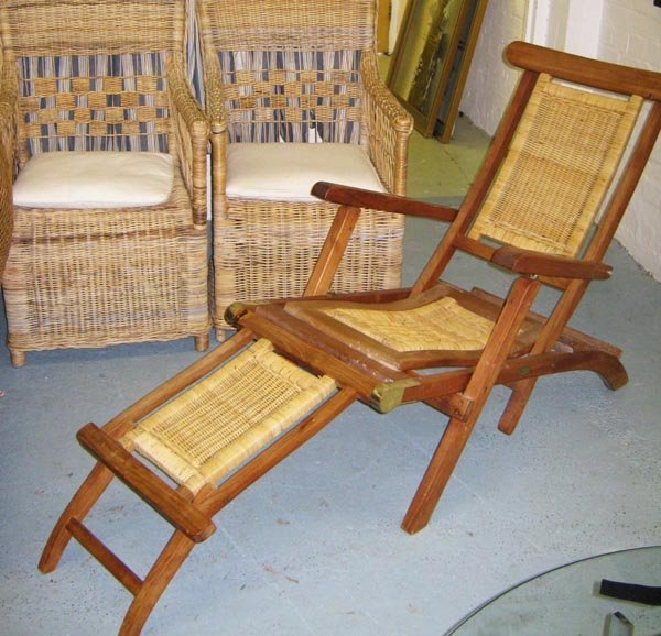 GARDEN CHAIRS, a pair, wicker and a teak and rattan