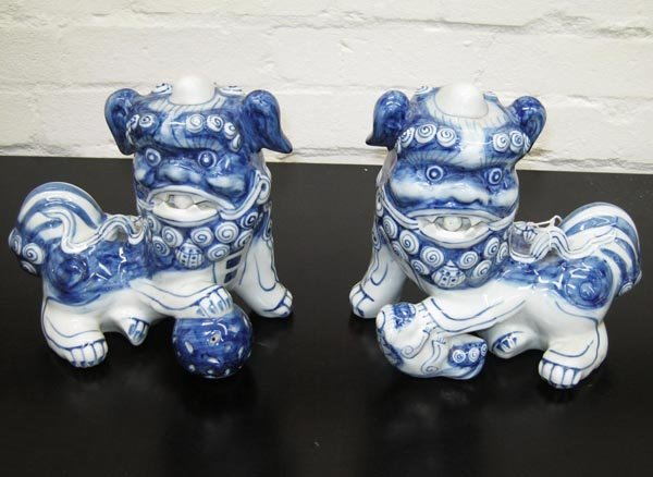 CERAMIC LION DOGS, a pair, Chinese style, blue and