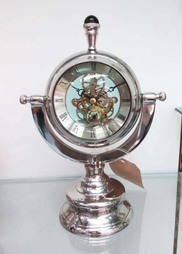 NAUTICAL CLOCK, chrome case with convex magnified watch
