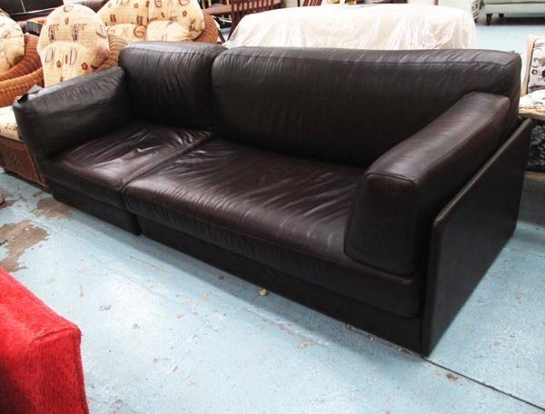 SOFA BED, brown leather, by Succession Manufacturing