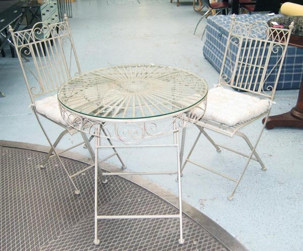 GARDEN SET, folding table, 72cm H x 70cm and two chairs