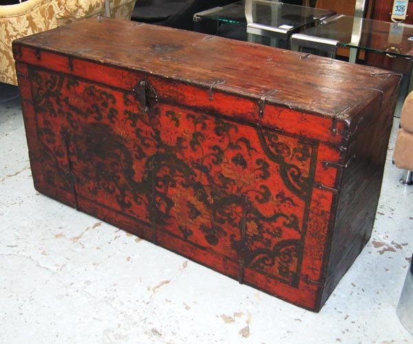 BLANKET BOX, decorated in a Chinese manner with metal