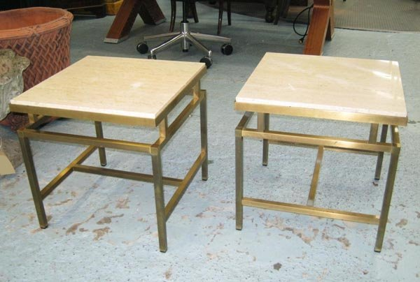 OCCASIONAL TABLES, a pair, 1970's brass geometric base