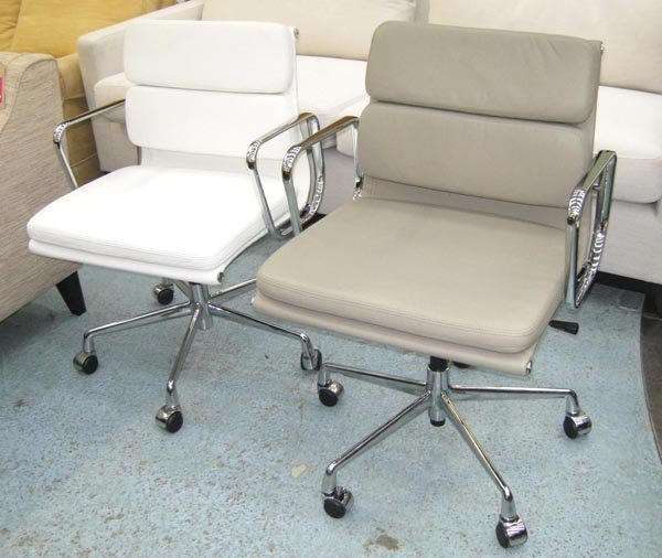 OFFICE CHAIRS, a pair, Eames style, one white and one