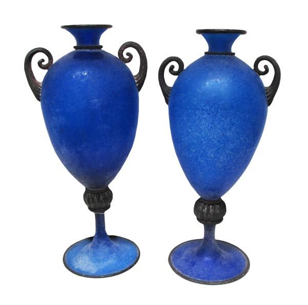 MURANO GLASS VASES, a pair, frosted blue glass with