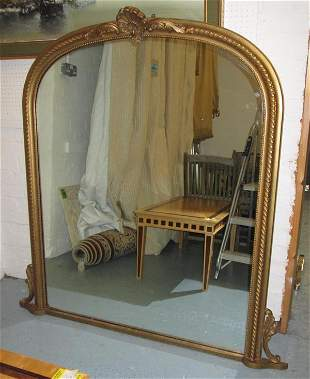 OVERMANTLE, Victorian style gilded frame with cartouche
