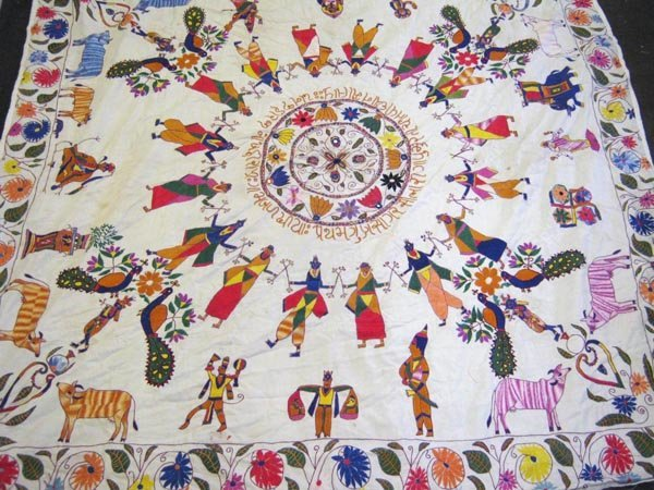 INDIAN WALL HANGING, the cotton ground hand stitched
