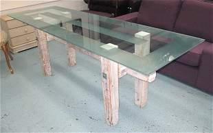 TABLE, driftwood base white wash finish with semi