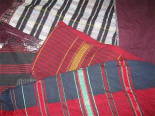 WALL HANGINGS, four, African woven silk and cotton of