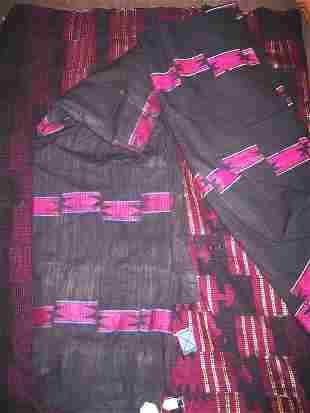 NIGERIAN WALL HANGINGS, three, of various woven and