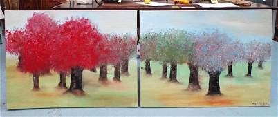 NIGEL KINGSTON (Contemporary), 'Four seasons', a pair,