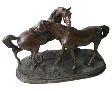 AFTER PIERRE-JULES MÊNE, bronze equestrian group 'group